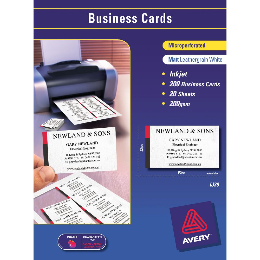 Avery microperforated business cards 200 pack officeworks for 200 business cards