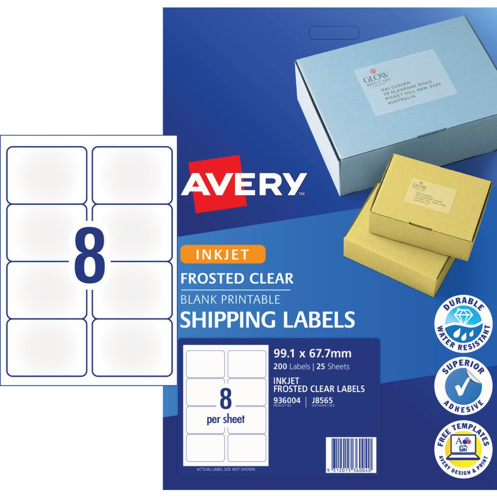 Avery Inkjet Shipping Labels Clear 25 Sheets 8 Per Page | Officeworks