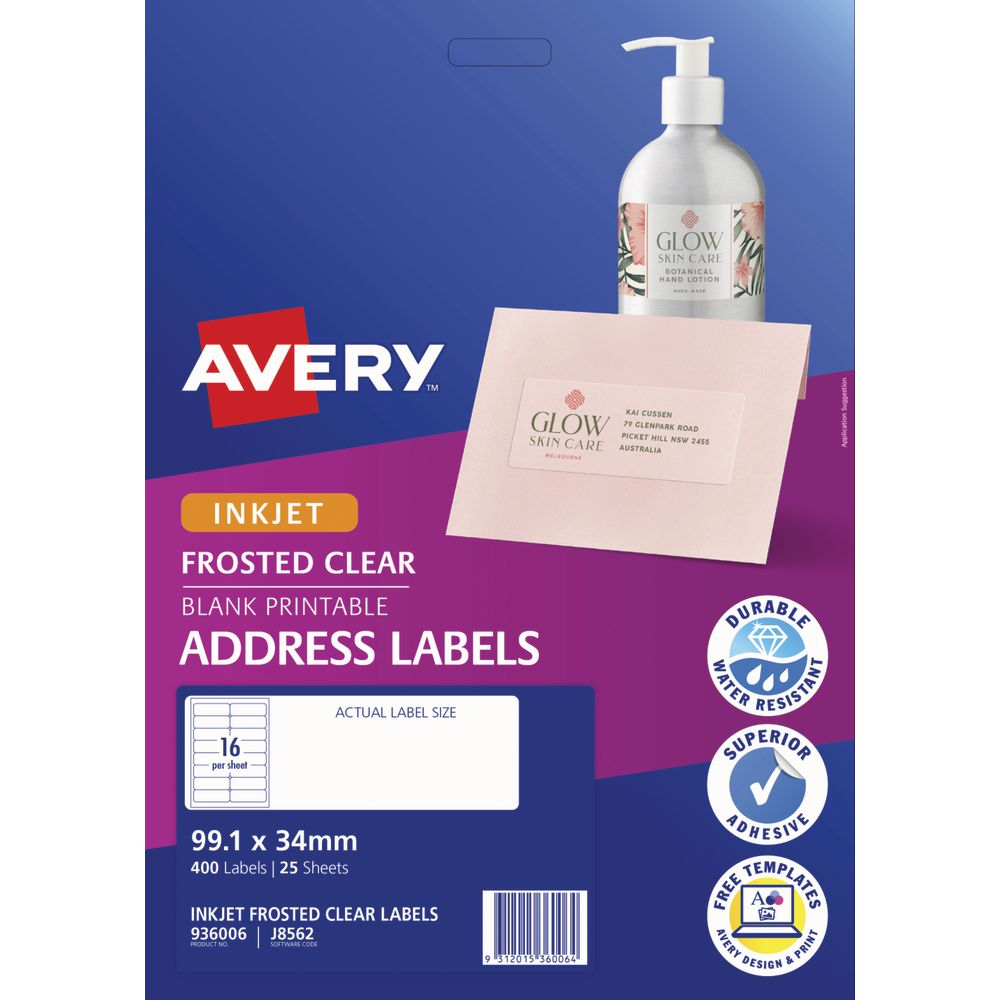 Avery Inkjet Mailing Labels Clear 25 Sheets 16 Per Page