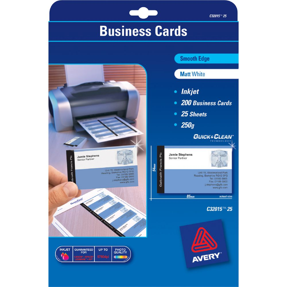 Business card sheets unlimitedgamers avery business cards matt photo sheets 200 pack officeworks reheart Gallery