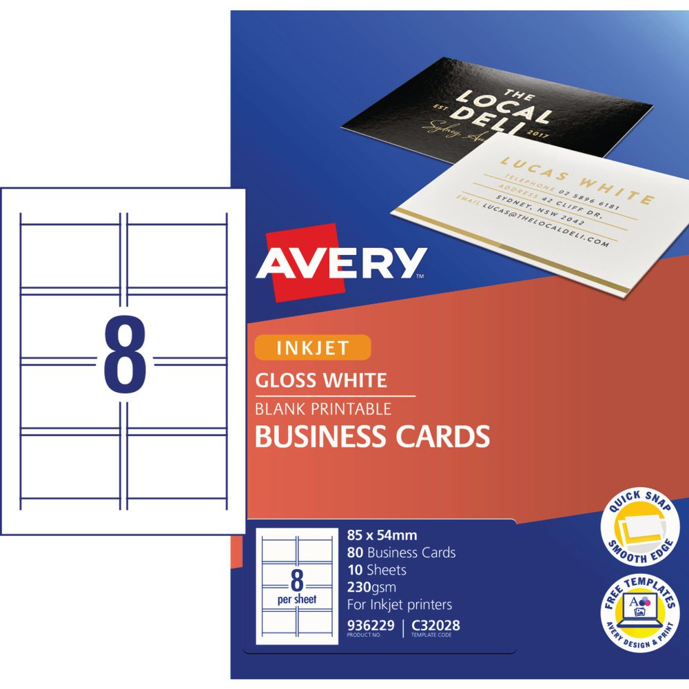 Avery Business Card Starter Kit 250gsm Glossy 80 Pack
