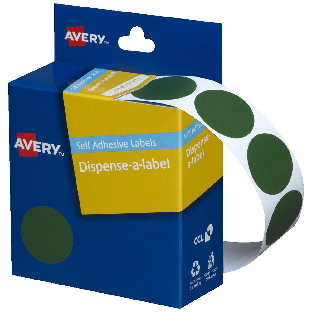 Avery Dispenser Labels Circle 24mm Green 500 Pack | Officeworks