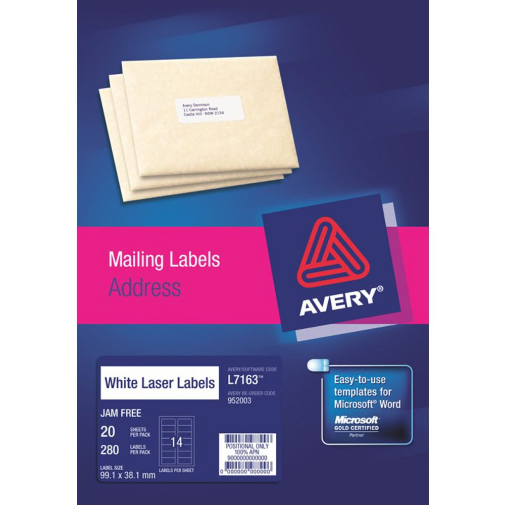 Avery Laser Address Labels White 20 Sheets 14 Per Page | Officeworks