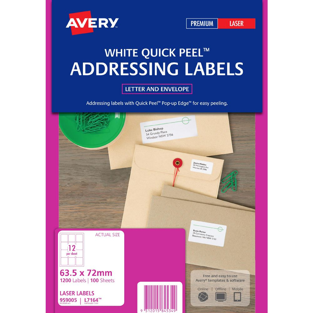 Avery laser address labels white 100 sheets 12 per page officeworks avery laser address labels white 100 sheets 12 per page pronofoot35fo Gallery