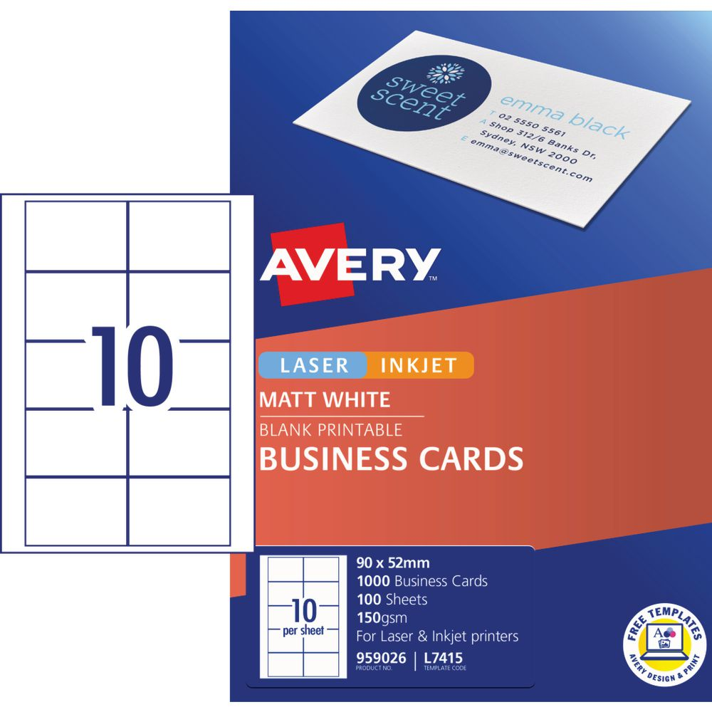 Avery Business Cards Matt White 100 Sheets 10 Per Page Officeworks