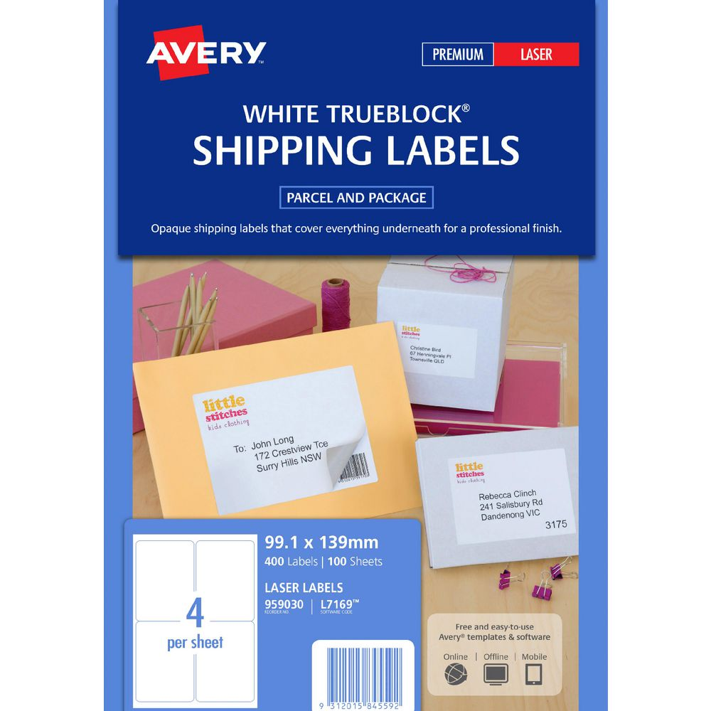 Avery Laser Shipping Labels White 100 Sheets 4 Per Page