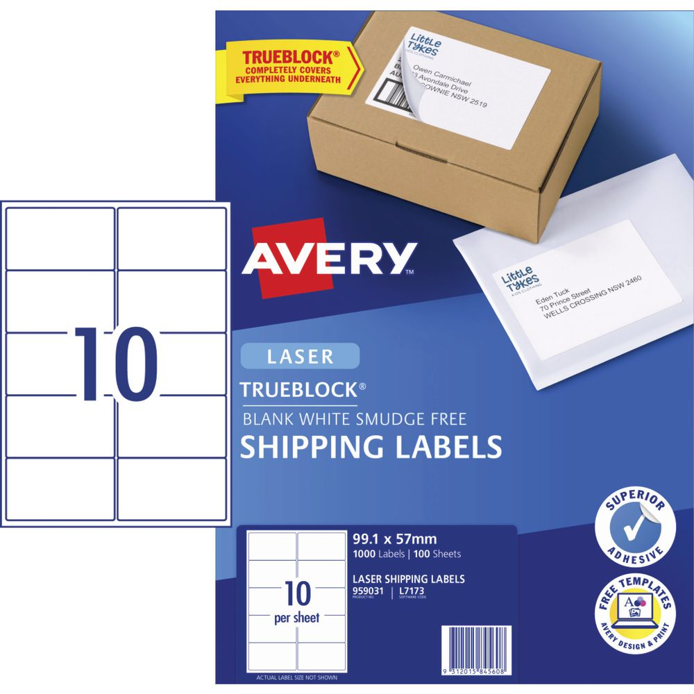 Avery 4UP Laser Shipping Labels 100 Sheets