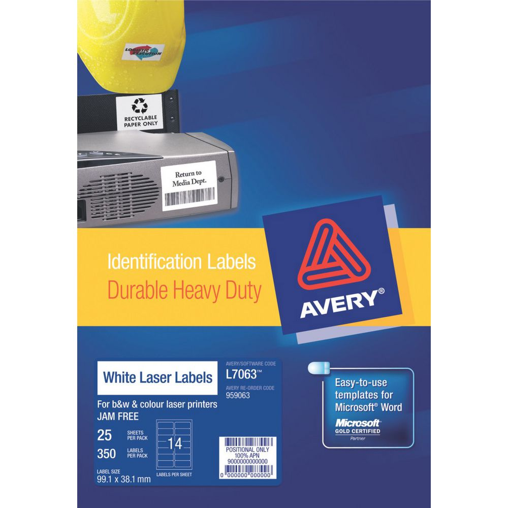 Avery Heavy Duty Laser Labels White 25 Sheets 14 Per Page ...