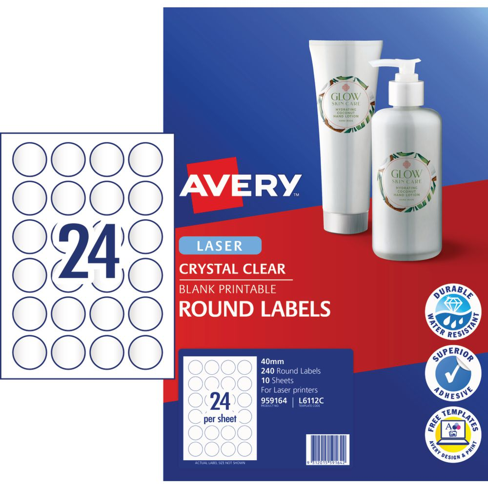 Avery Crystal Clear Round Multi-purpose Labels 10 Pack