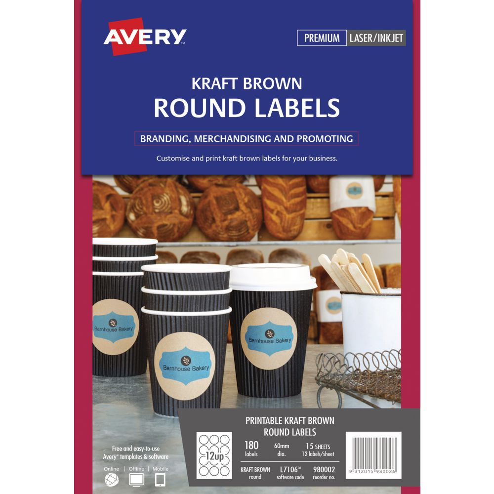 Avery Print-to-the-Edge Round Labels Kraft 180 Pack | Officeworks