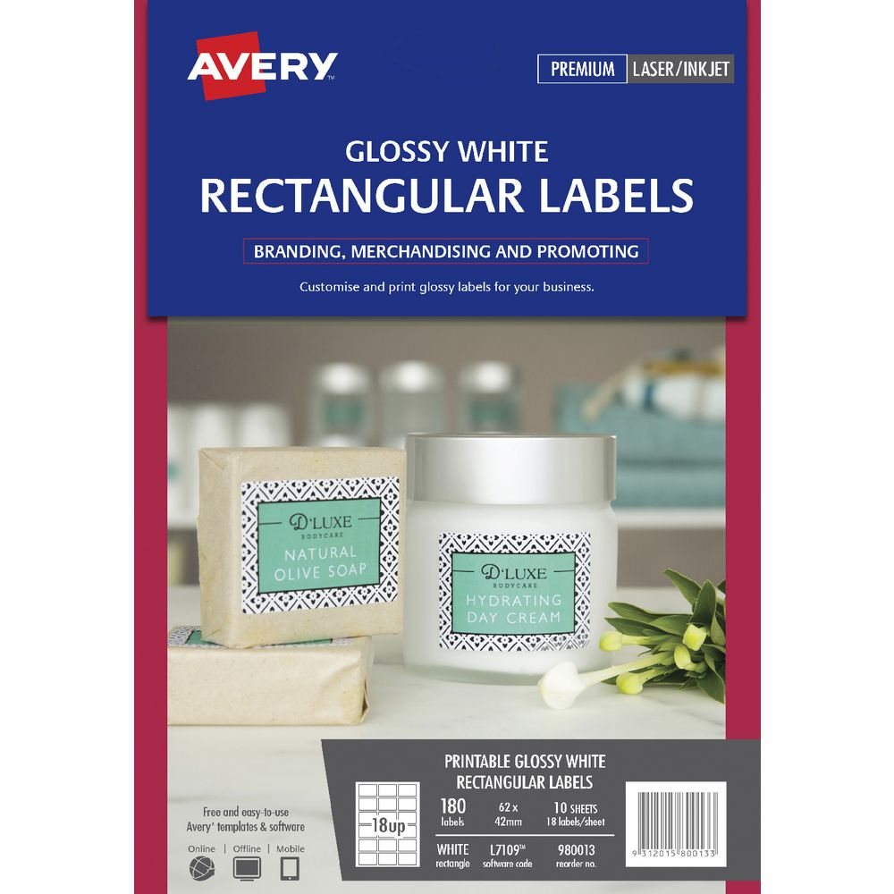 Avery 18UP Rectangle Labels Gloss White 10 Sheets