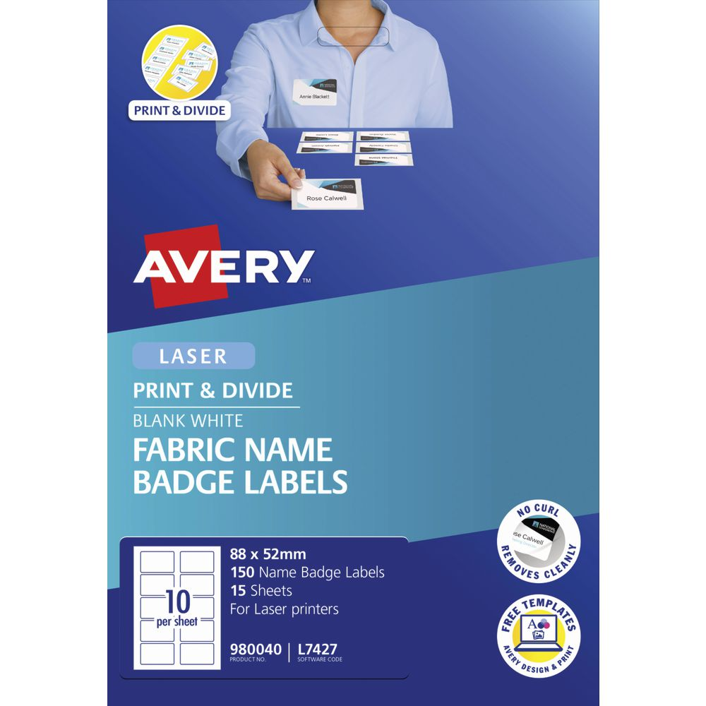 Avery Fabric Name Badge Labels 88 x 52mm White 150 Pack
