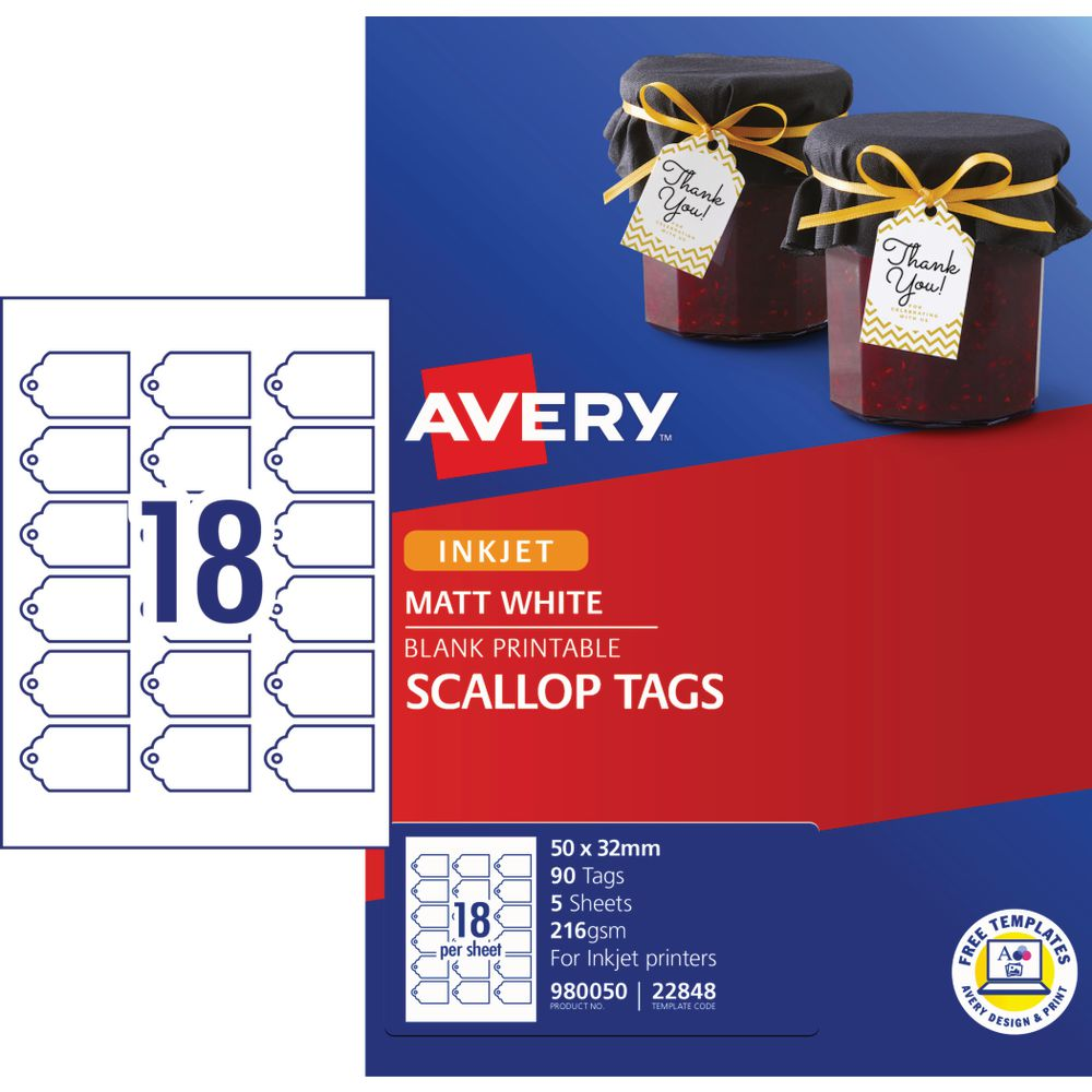 image relating to Avery Printable Tags known as Avery Printable Scallop Pricing Tags 50 x 32mm 90 Pack