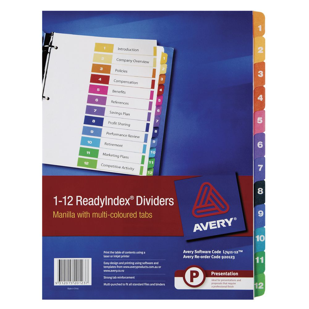 Avery Manila Table Of Contents Dividers With 12 Tabs