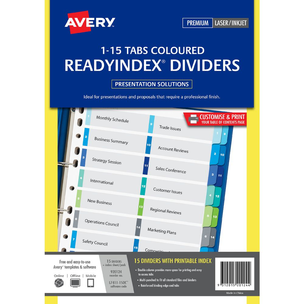 Avery Manilla Table Of Contents Dividers With 15 Tabs