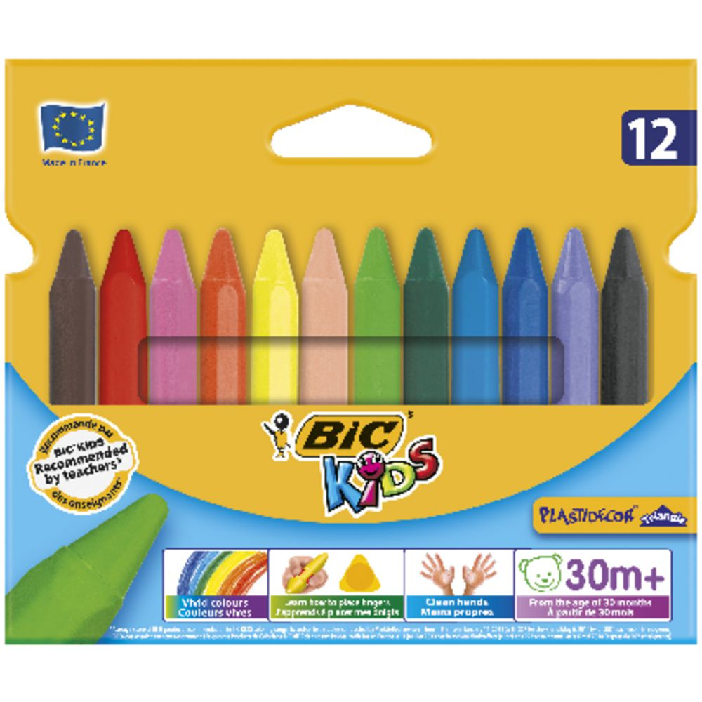 2 Packs of 12 Crayons Assorted Colours 12 cm Long Coloured