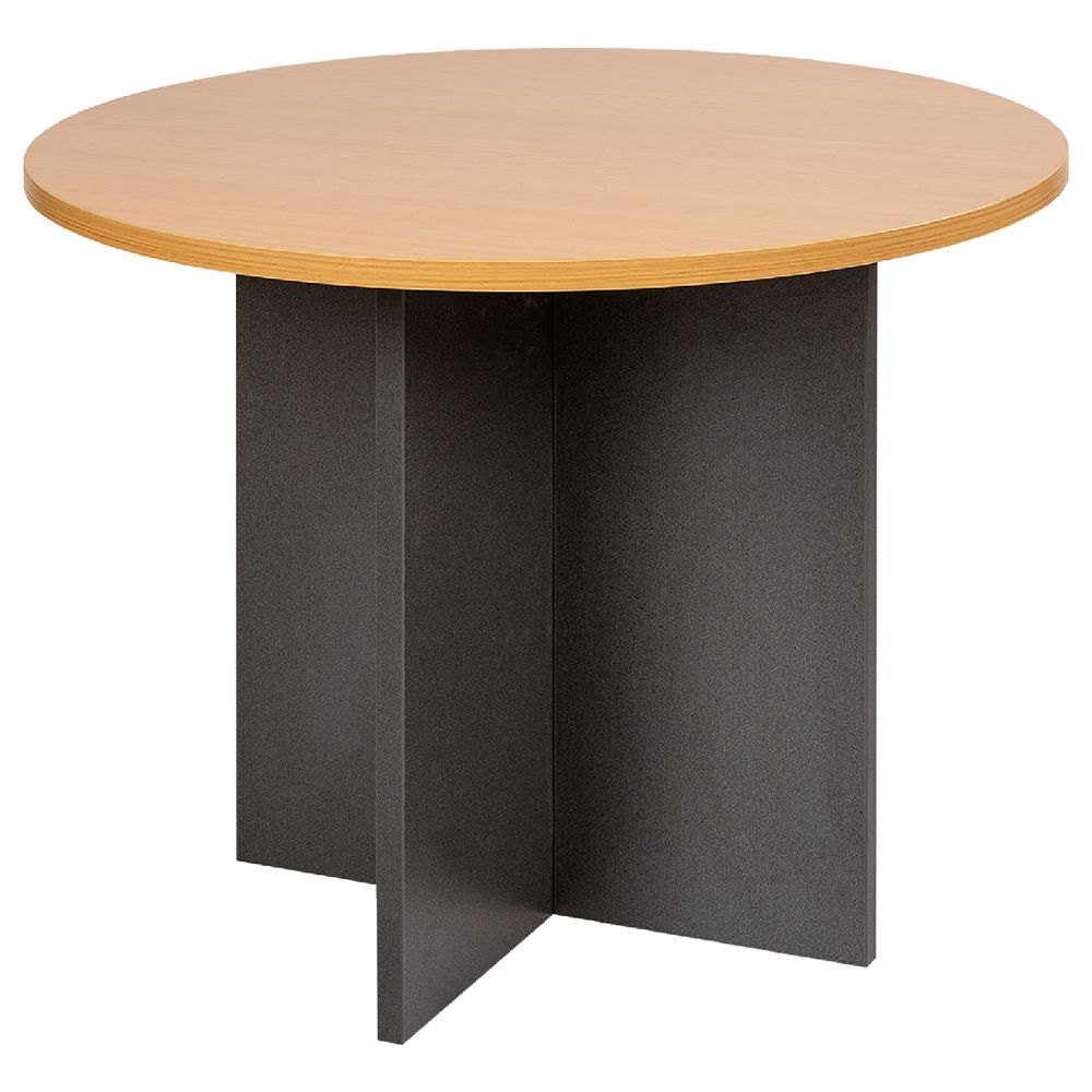 Beech Coffee Table Velocity Round Table 900mm Golden Beech And Ironstone Grey
