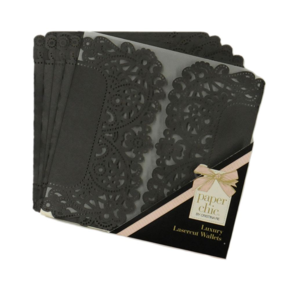 Invitation envelopes wedding envelopes card envelopes paper chic square lace wallets black stopboris Gallery