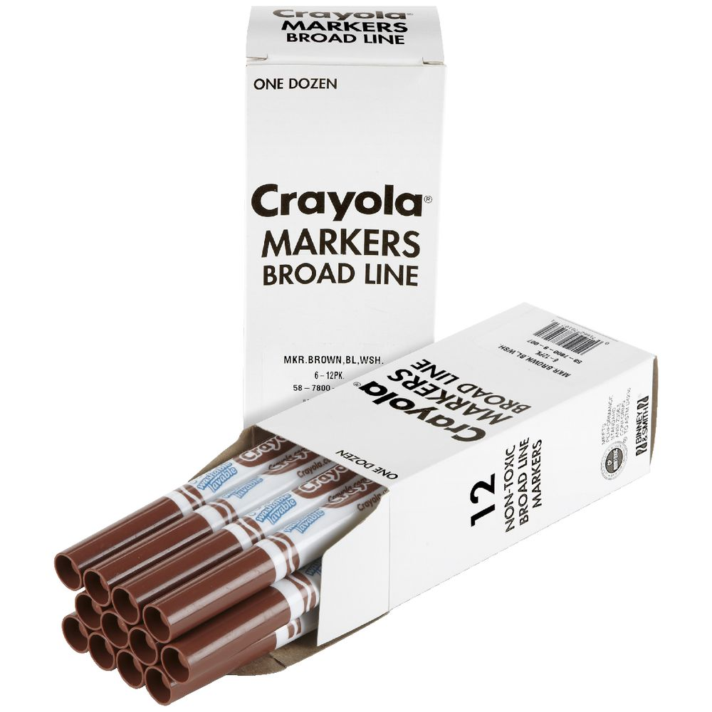 Crayola Ultra Clean Washable Markers Brown 12 Pack