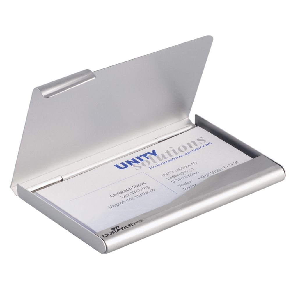 Durable Business Card Box Silver | Officeworks
