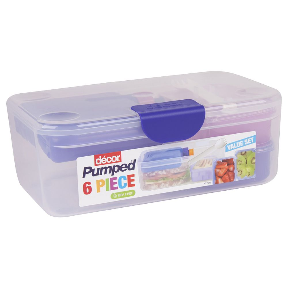 Decor pumped fresh lunch box 6 pack officeworks for Decor 6 piece lunchbox