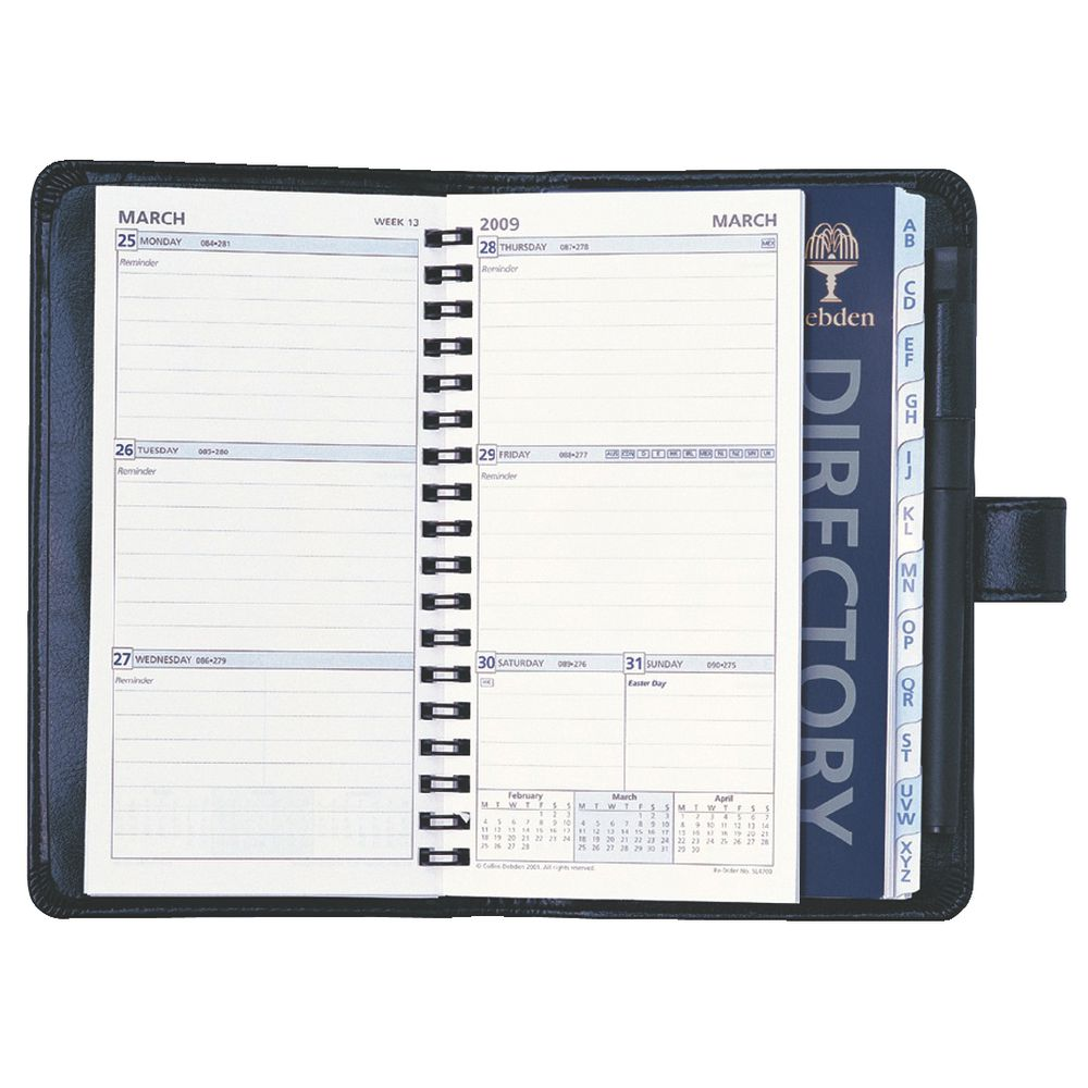 Year Calendar Officeworks : Dayplanner slim organiser black officeworks