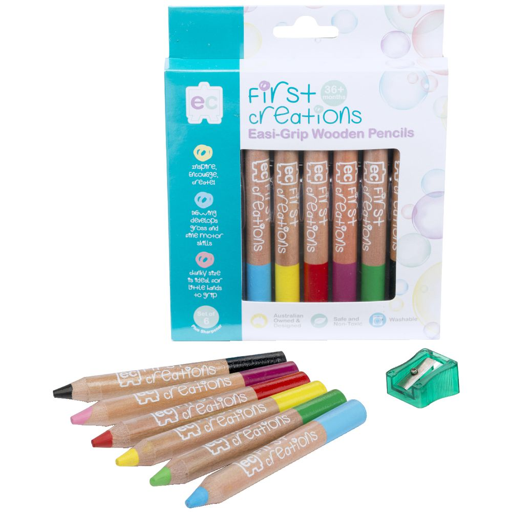 First Creations Easi Grip Wooden Pencils Assorted 6 Pack Officeworks