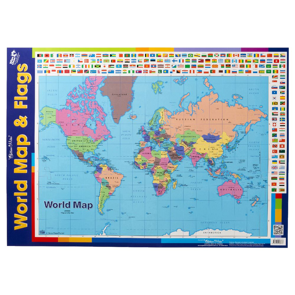 Gillian Miles World Map With Flags double-sided Wall Chart