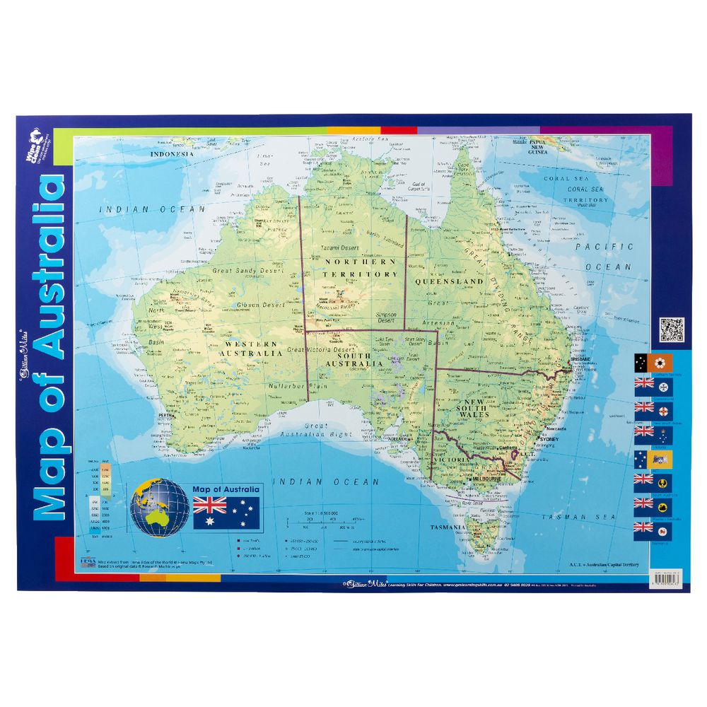 Australia Atlas Map.Gillian Miles Map Of Australia Double Sided Wall Chart Officeworks