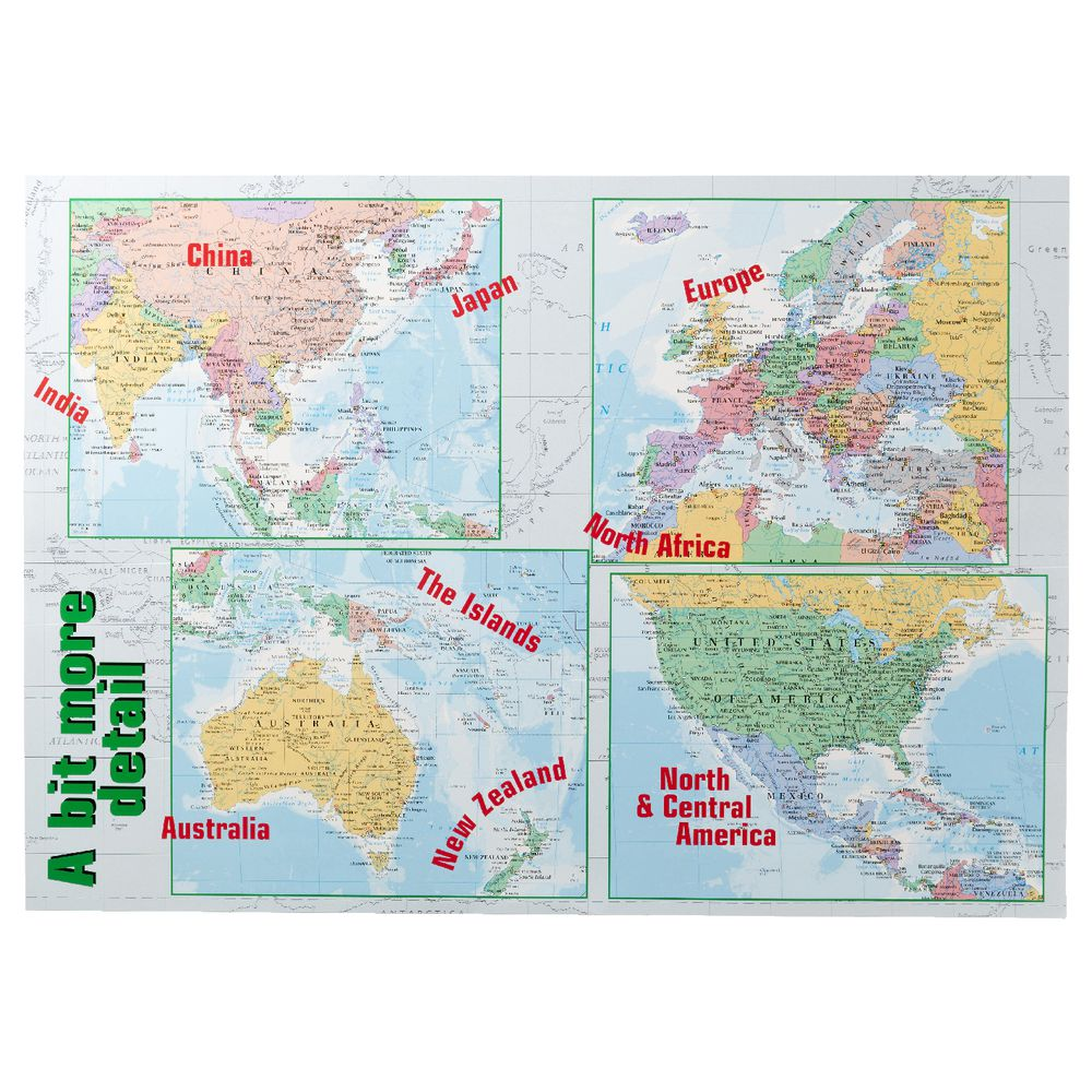 Gillian Miles World Map Double Sided Wall Chart