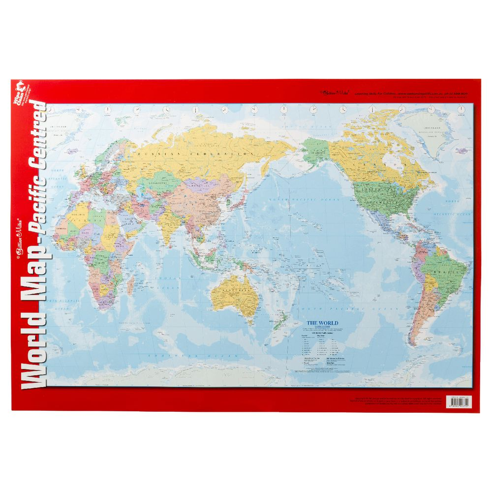 Gillian Miles World Map Double Sided Wall Chart Officeworks