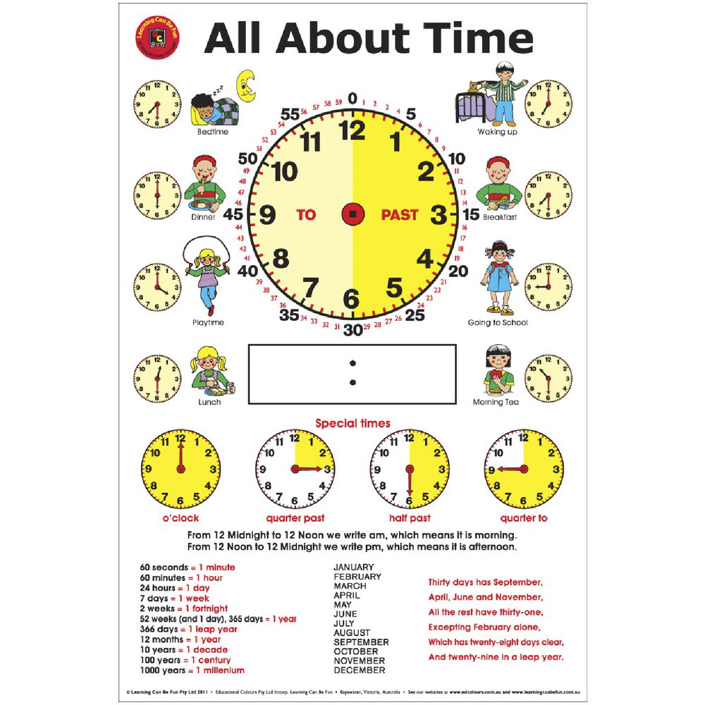 Learning Can Be Fun Wall Chart All About Time | Officeworks