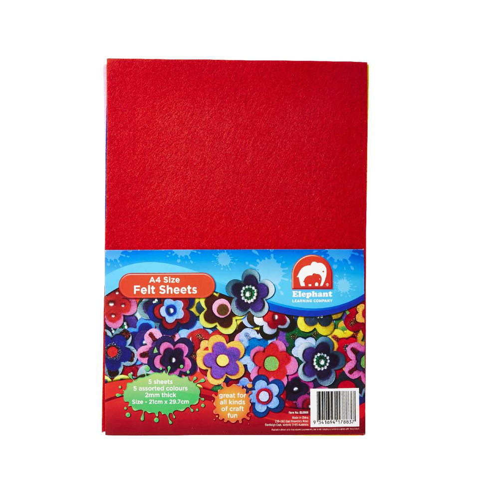 elephant learning company a4 felt sheet assorted 5 pack officeworks