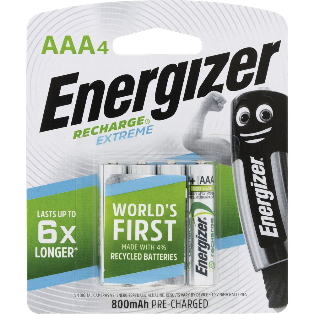 Energizer Rechargeable AAA Batteries 4 Pack | Officeworks