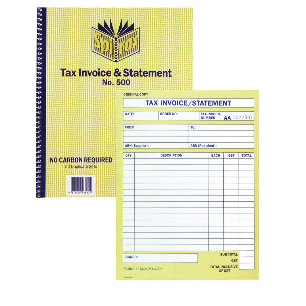 Spirax Tax Invoice And Statement Book No.500 9312828466205