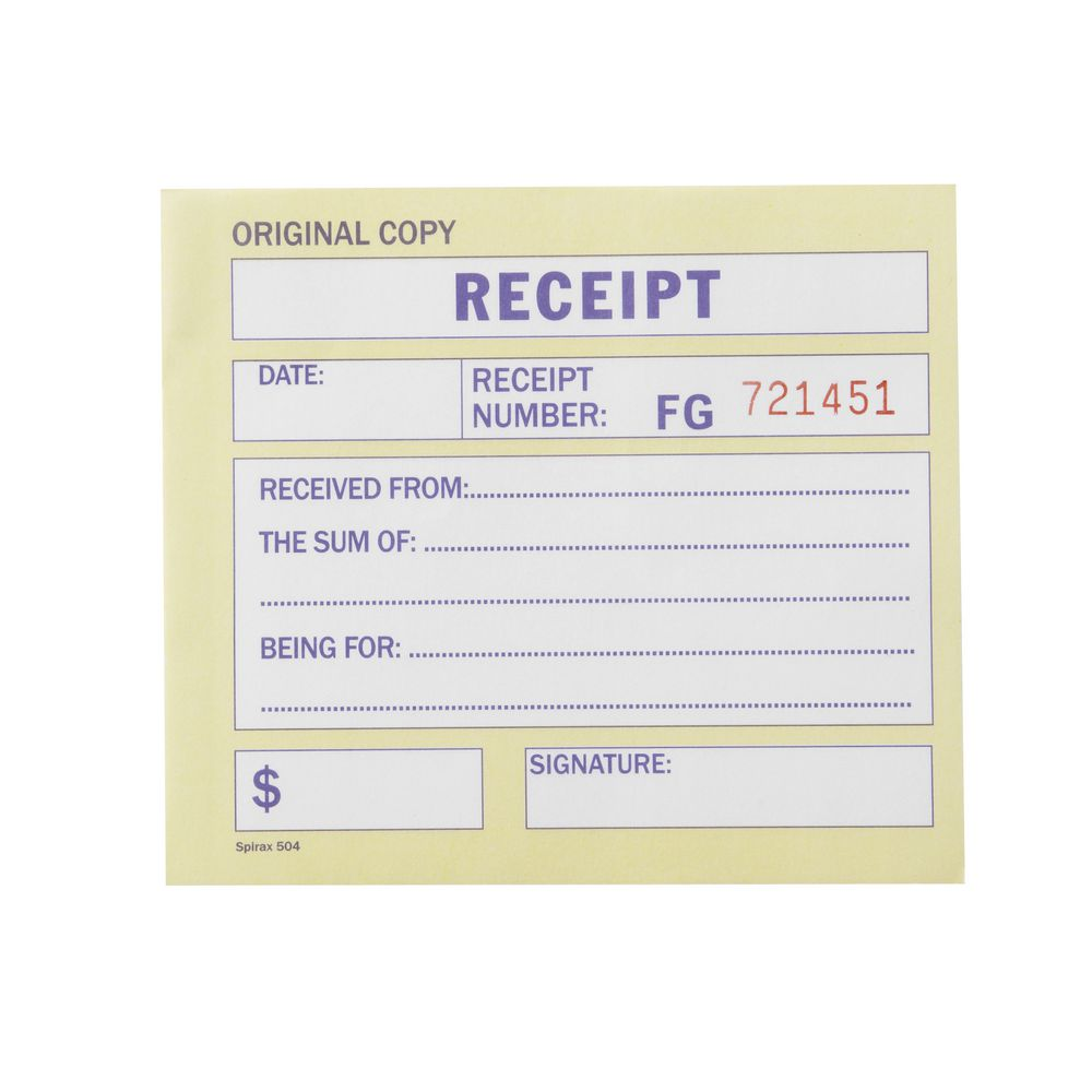 Spirax No 504 Carbonless Cash Receipt Book – Payment Receipt Book