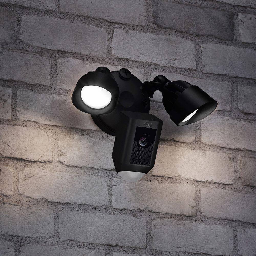 Ring Camera Light Youtube: Ring Floodlight Outdoor Camera Black