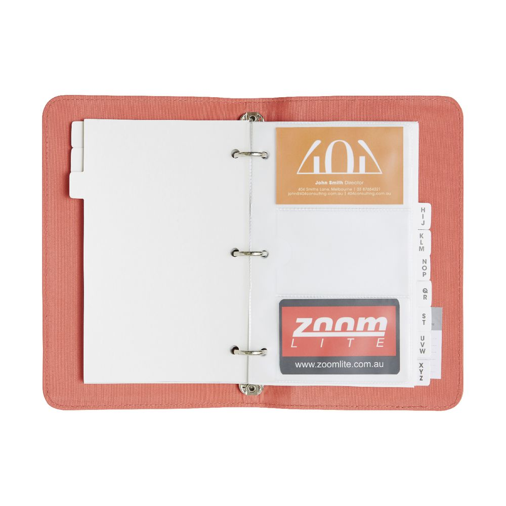 Otto business card binder 3up criss cross coral officeworks otto business card binder 3up criss cross coral magicingreecefo Image collections