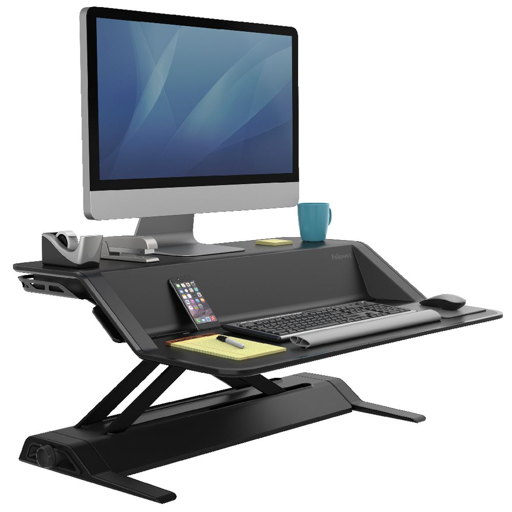 Fellowes Lotus Sit Stand Workstation Black Officeworks