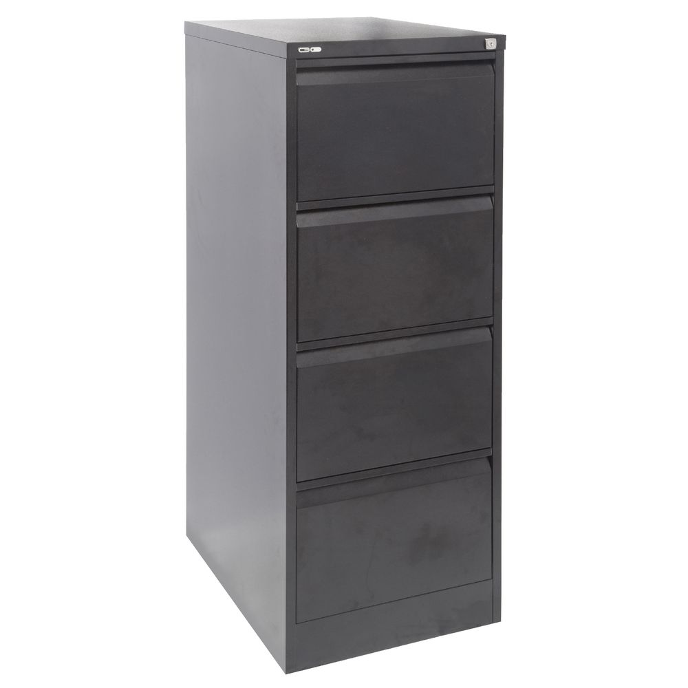 GO 4 Drawer Filing Cabinet Black | Officeworks