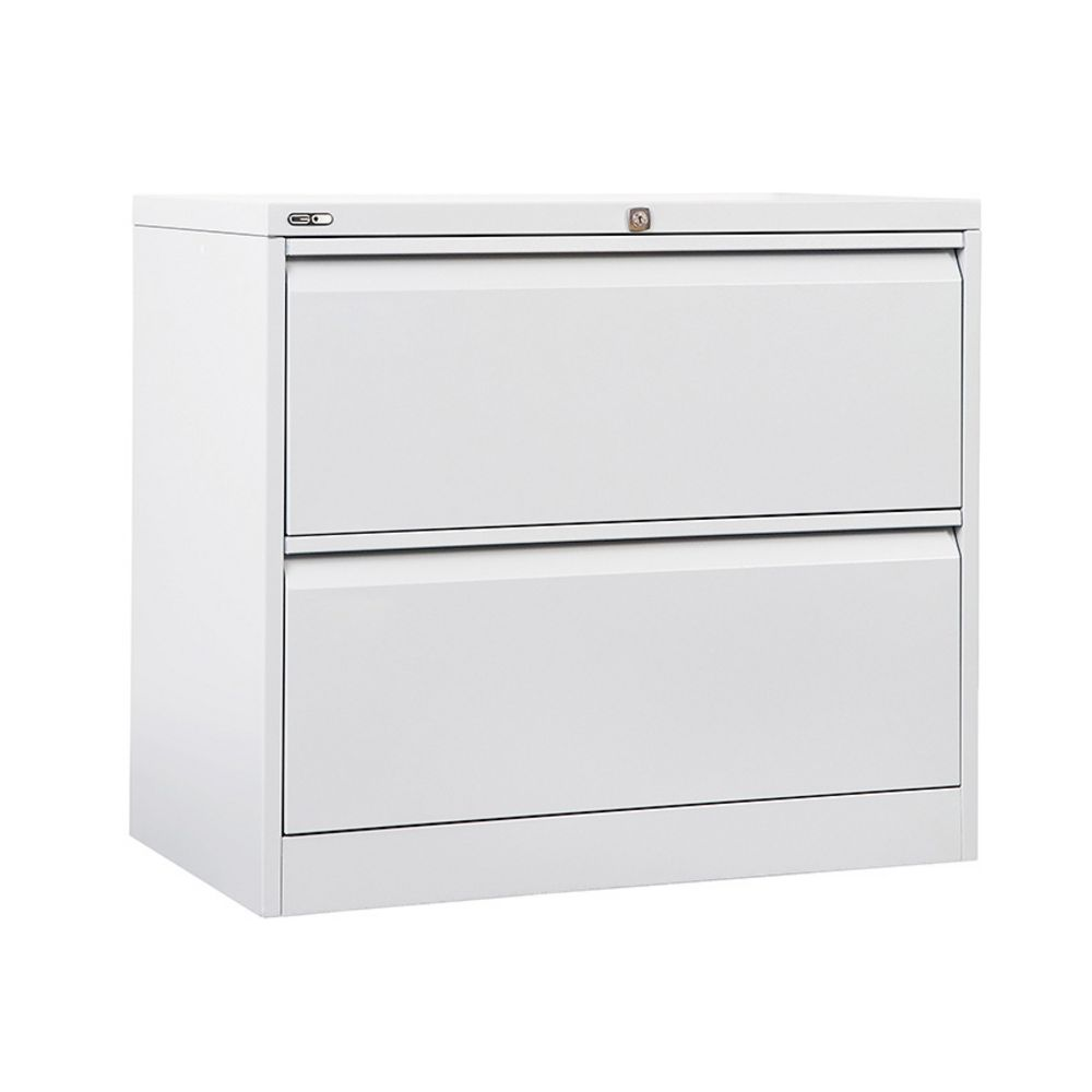 GO 2 Drawer Lateral Filing Cabinet White | Officeworks