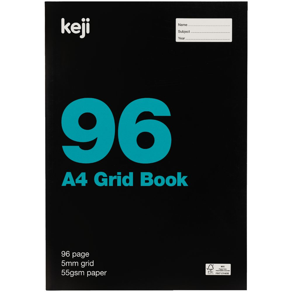 Keji A4 Grid Book 5mm 96 Page   Officeworks