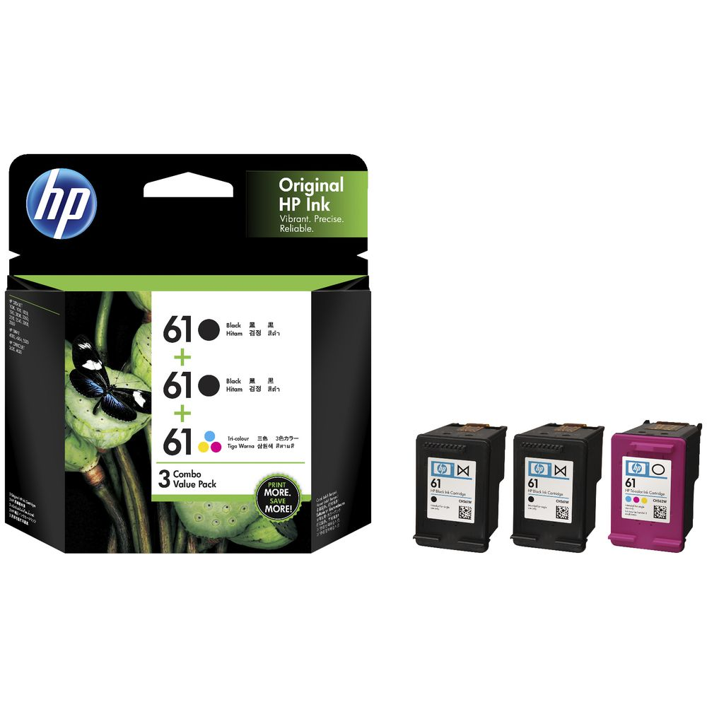 HP 61 Black and Colour Ink Cartridges 3 Pack | Officeworks