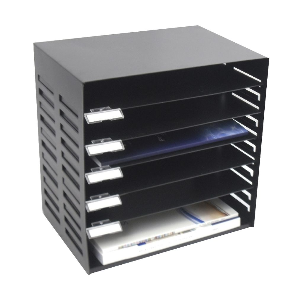 Italplast Metal 6 Tier Stationery Rack Black Officeworks