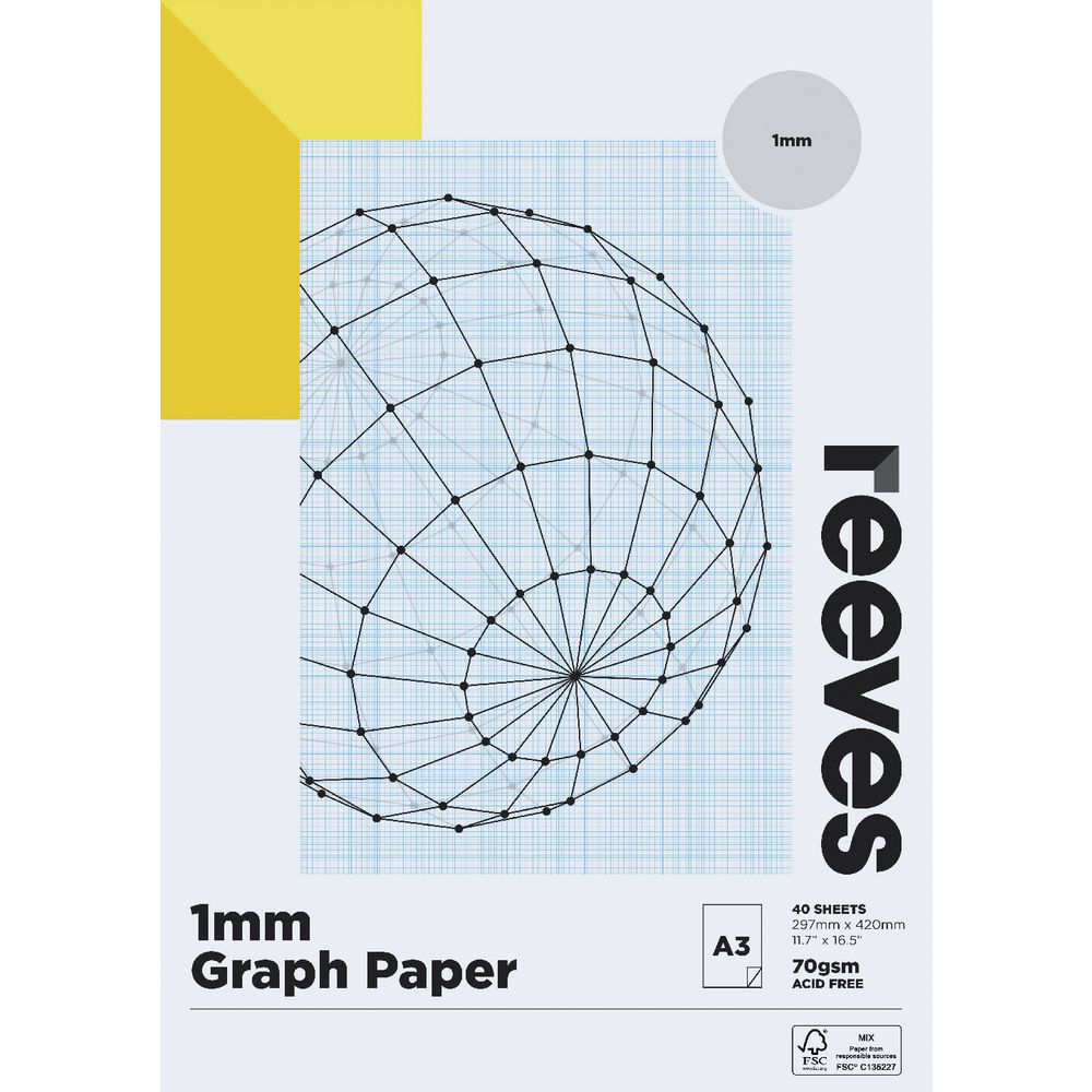 reeves a3 1mm graph pad 70gsm 40 sheets 9311960017764