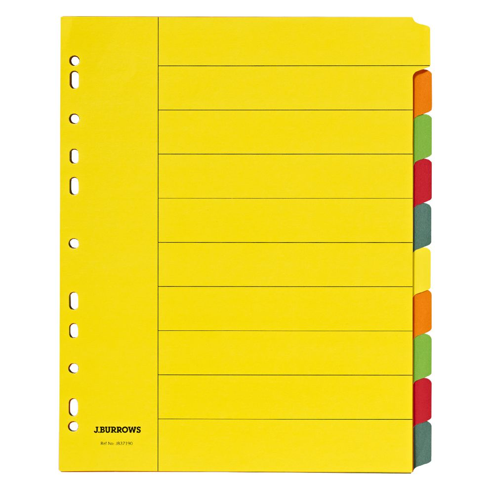 J Burrows A4 10 Tab Dividers Extra Wide Manilla