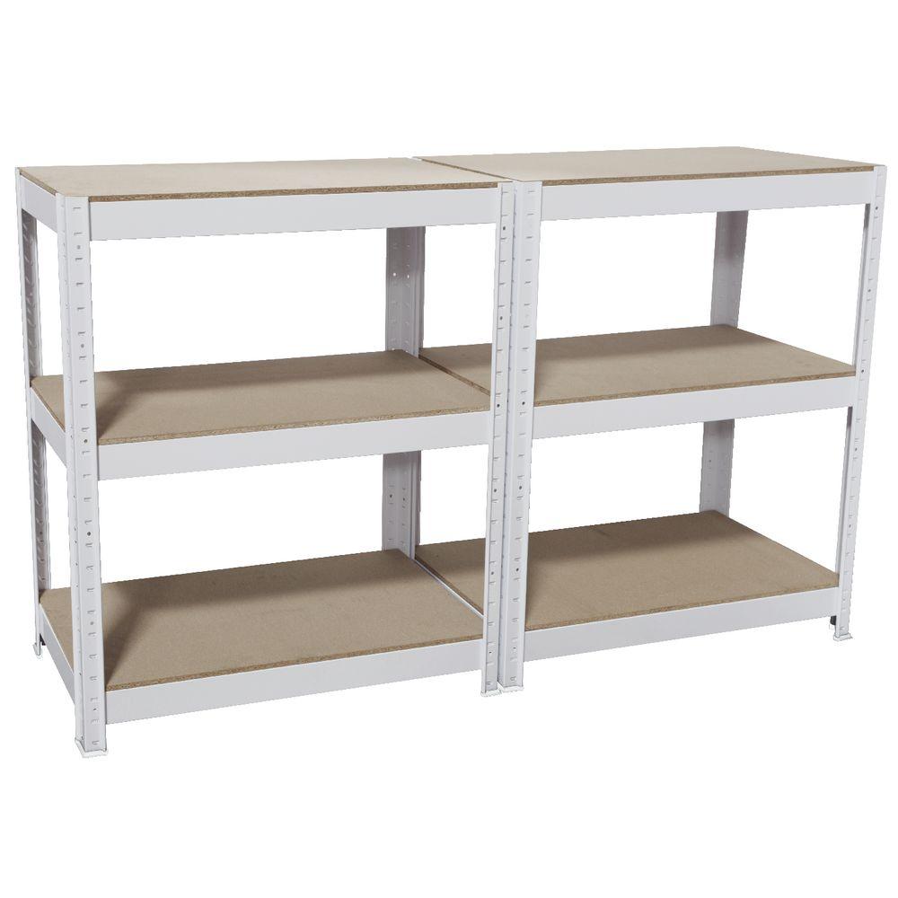 Cobalt 3 Shelf Metal Shelving Unit White