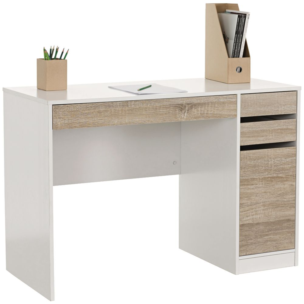 deakin 3 drawer desk officeworks. Black Bedroom Furniture Sets. Home Design Ideas