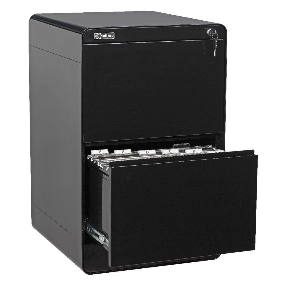 Excalibre 2 Drawer Filing Cabinet Black | Officeworks