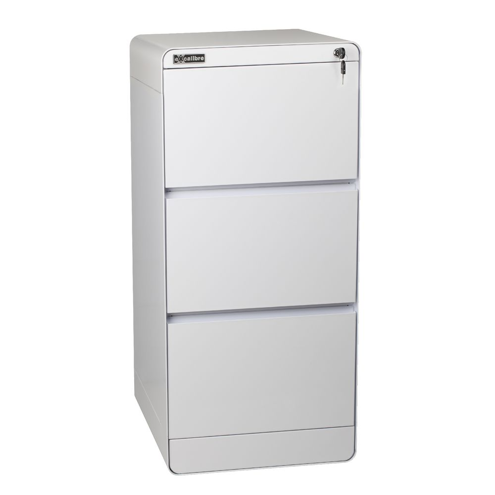 Excalibre 3 Drawer Filing Cabinet White | Officeworks